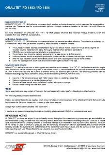 ORALITE FD1403 Application