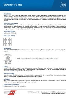 ORALITE FD1403 Technical Data